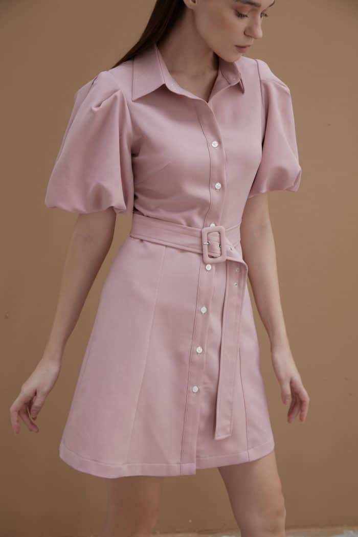 Pink Shirt Dress with Puff Sleeves
