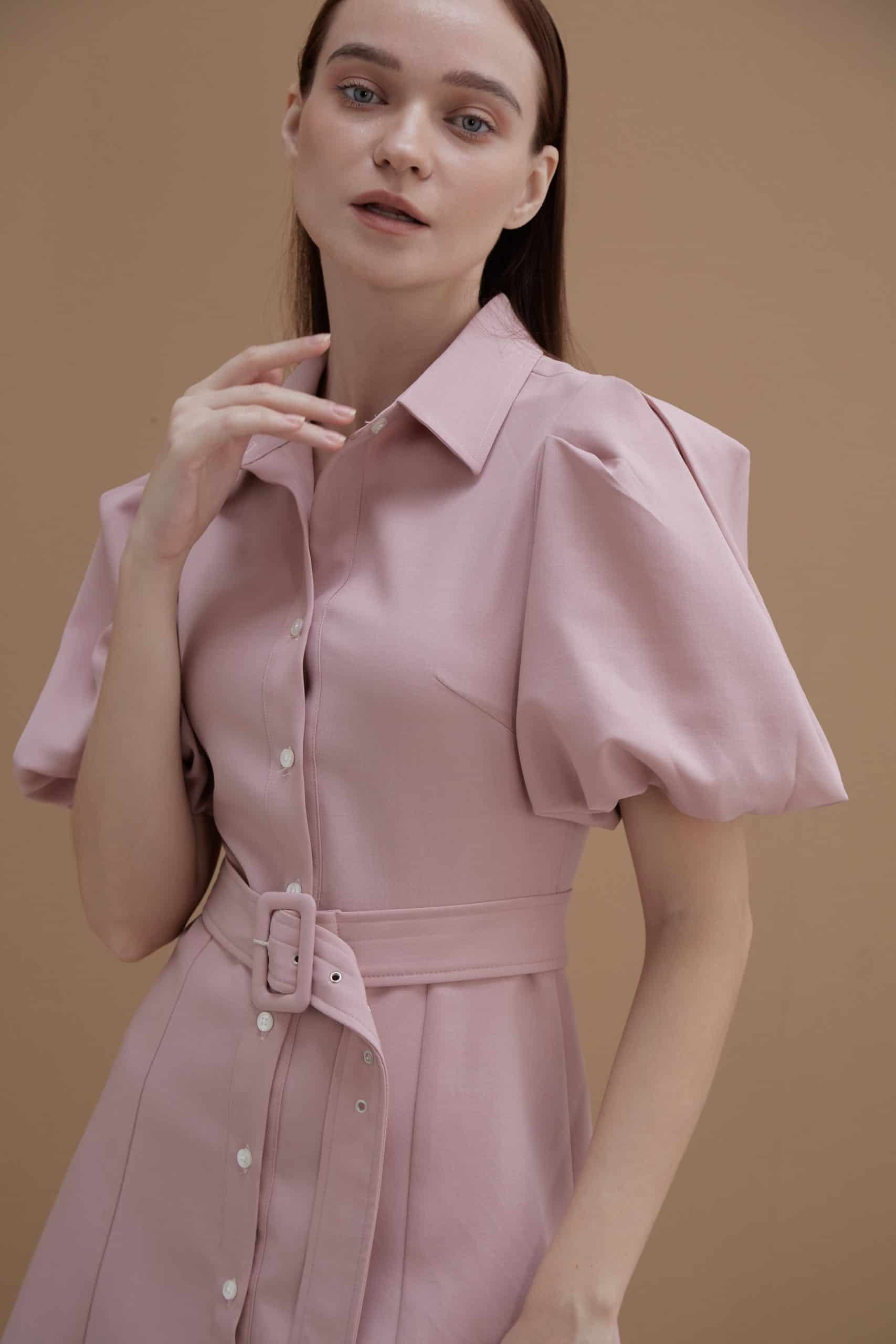 Pink Shirt with Puff Sleeves-2