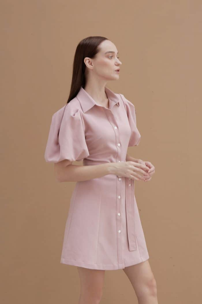 Pink Shirt with Puff Sleeves