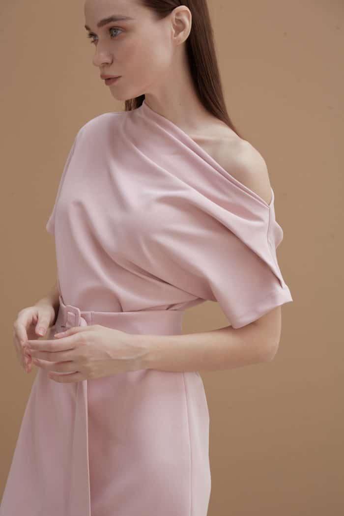 Pink Wide-neck Dress-3