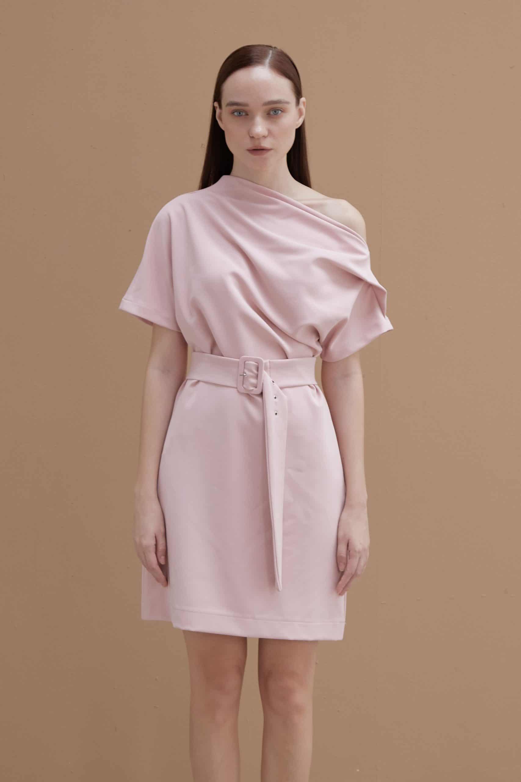 Pink Wide-neck Dress