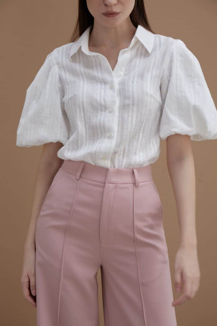 White Shirt With Puff Sleeve-3