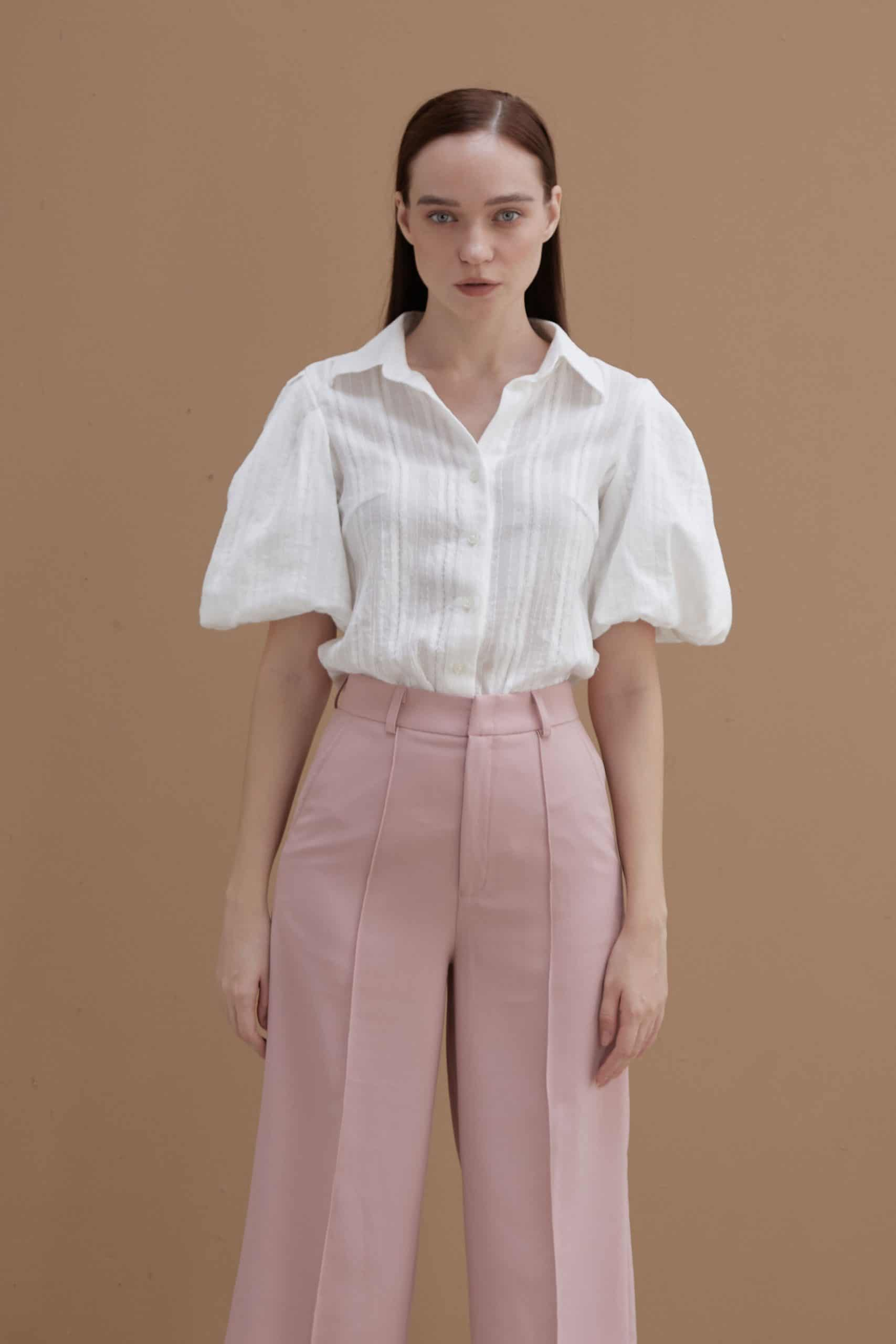 White Shirt With Puff Sleeve