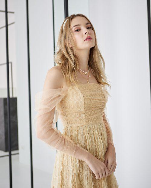 Beige Off-Shoulder Lace Midi Dress 1