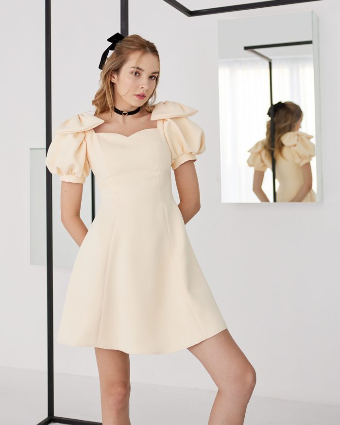 Vanilla Bow Shoulder dress with Puff Sleeves 0